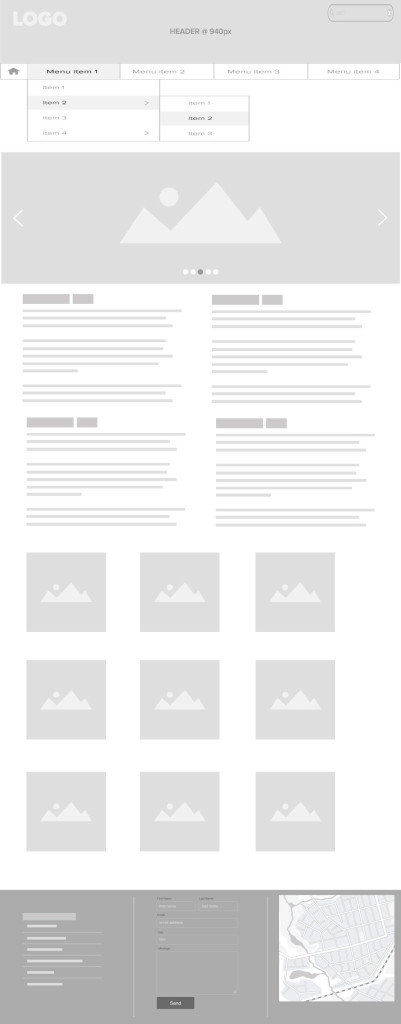 Frontpage wireframe made in Illustrator with Armature extension